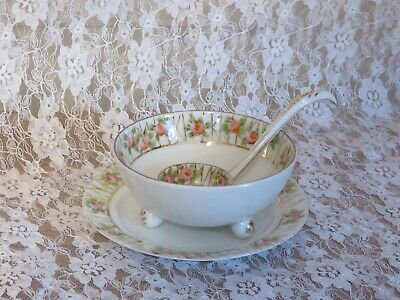 Vintage Nippon Footed Soup Bowl~Matching Spoon & Saucer~Excellent Condition!