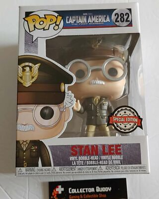 Funko Pop! Marvel 282 Captain America Stan Lee Army General Special Edition Pop