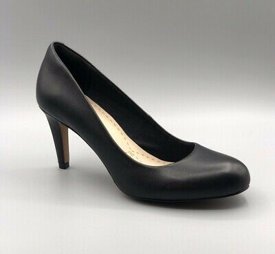 Clarks Ladies Black Leather Court Shoes /'Carlita Cove/' D and E Fitting