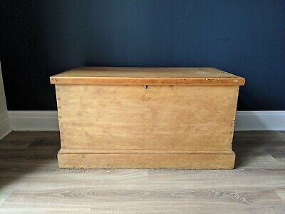 Victorian Pine Blanket Box, Antique Linen Chest, Old Storage Bedroom Furniture