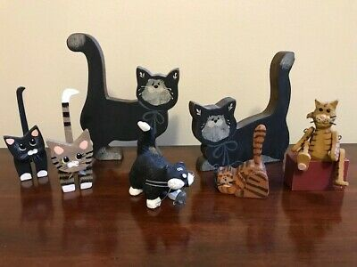 Hand crafted wood cat collectibles lot kitty