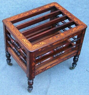 Antique English Georgian ? Marquetry Inlaid Canterbury Spindle Magazine Rack 19""