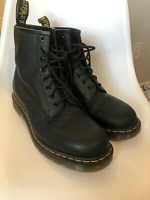 Men's Shoes Dr. Martens 1460 8 Eye Leather Lace Up Boots BLACK GREASY 11822003