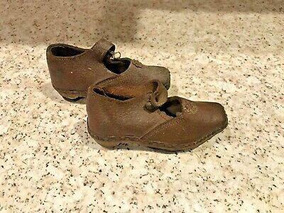 Antique Leather Brown Girl Child's Single Button Wood Sole with Metal Shoes