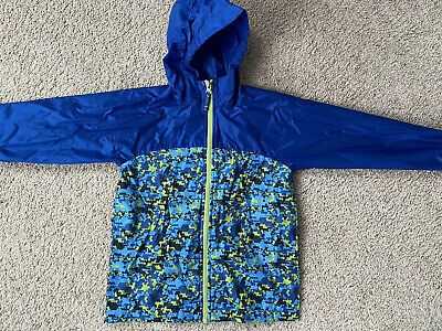 Lands End Boys Rain Jacket Windbreaker Medium 5-6 Blue Green