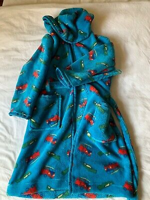 Boy's supersoft blue transport dressing gown, age 7, immaculate