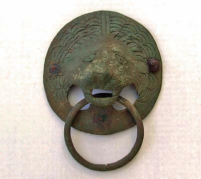 Superb Ancient Roman Large Bronze Lion Head Handle Circa 2nd Century A.D.