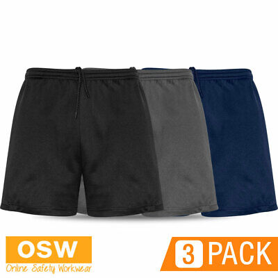 3 X Mens Adult Circuit Gym Crossfit Work-Out Stretch Shorts - Black/Navy/Grey