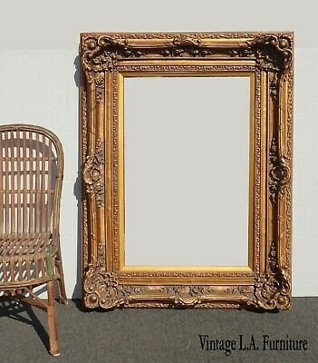 Large 51x39 Vintage French Provincial Louis XVI Ornate Gold Picture Frame