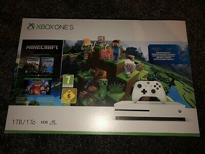 Microsoft Xbox One S 1 TB White Minecraft Console with two games
