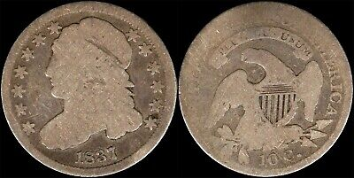 1837 Capped Bust Dime US Type Coin Obsolete Old Silver 1800's