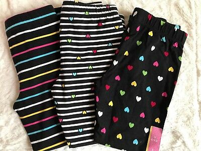 New Girls Leggings, Black with Stripes or Hearts on Stripes, Size Large (10/12)
