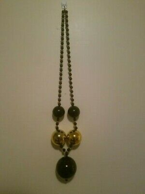 GIANT BLACK AND GOLD BALL Beads New Orleans MARDI GRAS Necklace NICE!