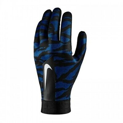 Nike Player Academy Hyperwarm AOP Football Gloves Sz L Black/Coastal Blue/White