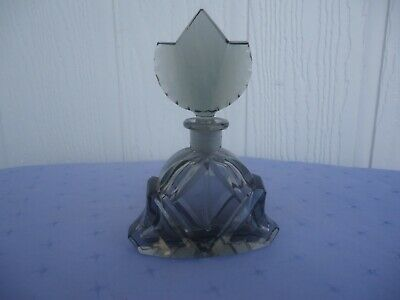 vintage art deco black grey crystal glass perfume scent bottle