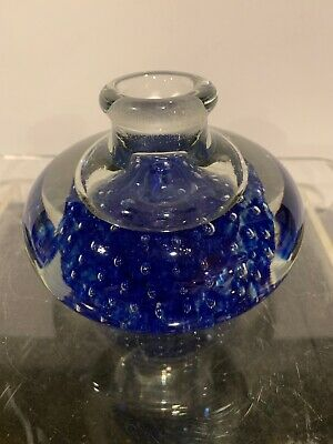 "Vtg Hand Blown Glass Round Controlled Bubbles Ink Well Paperweight Vase. 4"" Blue"
