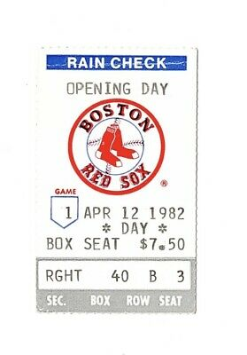 Boston Red Sox Ticket Stub Opening Day April 12, 1982 Fenway Park