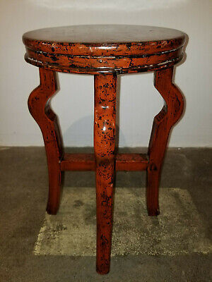Antique Red Asian Lacquer side Table or Stool Chinese /Oriental Pedestal