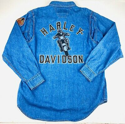 Harley Davidson Motorcycles Mens Blue Denim Button Shirt Sz Large Spell Out Logo