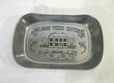 RWP Wilton Armetale Pewter Bless This House Bread Tray #601013