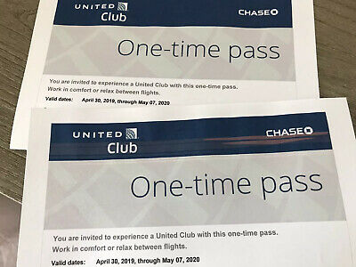 United Airlines Club Lounge One-Time Passes Expires May 7, 2020 - 2 Passes!!