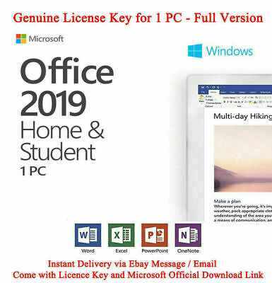 Microsoft Office 2019 Home and Student For Windows PC License Key 🔥16s Delivery