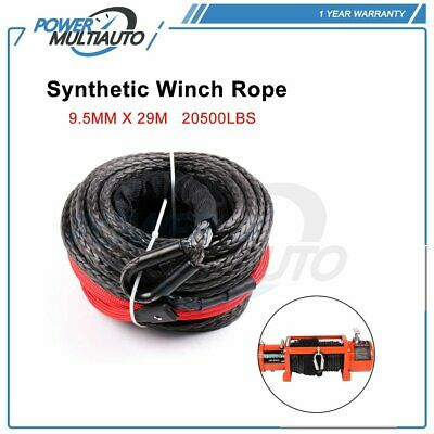 "20500LBs 95' x 3/8"" Synthetic Winch Rope Line Cable For ATV UTV SUV Jeep Truck"