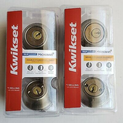 Lot of 2 Kwikset 665 Antique Brass Double Cylinder Deadbolt Door Locks SAME KEYS