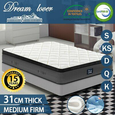 Queen Double King Single Mattress Bed Pocket Spring Memory Latex Foam EURO TOP