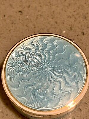 Sterling Silver Light Blue Guilloche Enamel 1930s Compact Rare Etched Letters