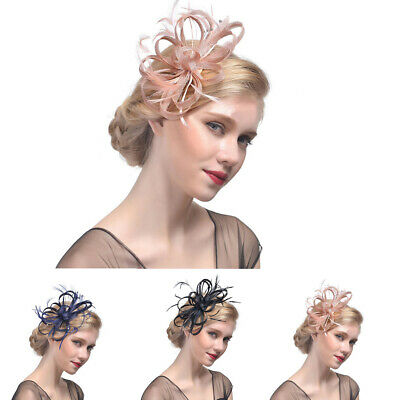 Ladies Womens Elegant Sinamay Flower Feather Headband Fascinator Hair Band IN9Z