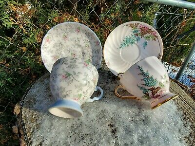 Vintage Tuscan Fine English Bone China Tea Cup And Saucer Pink & Blue Footed