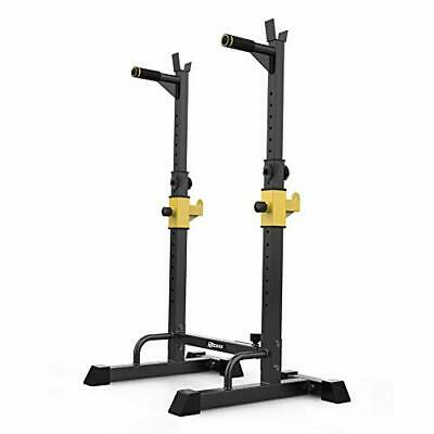 UBOWAY Barbell Rack Squat Stand Adjustable Bench Press Rack 550LBS Max Load