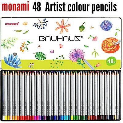 48 x Colouring Pencils Set Drawing Painting Artist Kids in Tin monami RRP £27.99