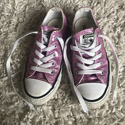 Girls Converse Sparkly Pink All Star Trainers Size 11.5