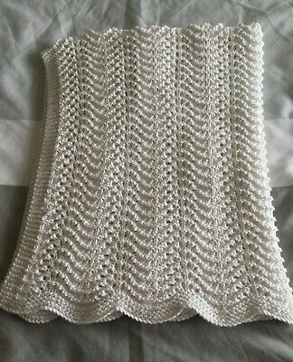 hand knitted fan and feather stitch baby blanket - white