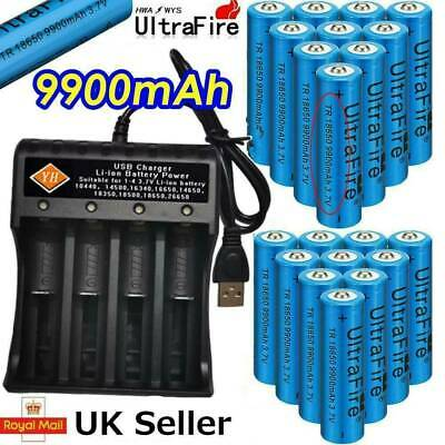 x8 UltraFire 18650 9900mAh 3.7v Li-ion Rechargeable Batteries + 4-Slot Charger
