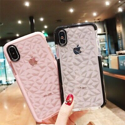 For iPhone XS MAX XR X 8 7 6 Plus Shockproof Diamond Texture Soft Gel Case Cover