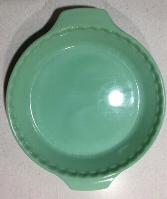 "Anchor Hocking Fire King 2000 Jadeite Jadite 10"" Fluted Pie Plate Dish Pan"