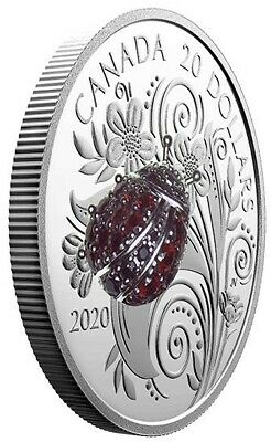 2020 Canada 1 oz. Pure Silver Coin - Bejeweled Bugs: Ladybug