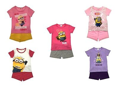 Girls Short Pyjama Set Despicable Me Minions Short Pjs Set Kids Nightwear Size