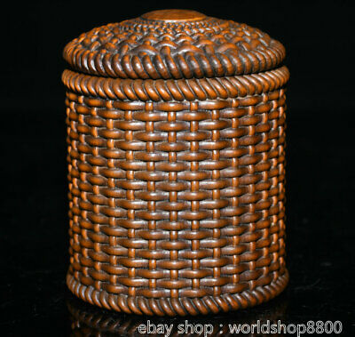 "4.2"" Old China Boxwood Hand-carved Bamboo Weaving Tea Canister Tea Caddy Tank"