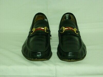 Gucci mens black leather loafers