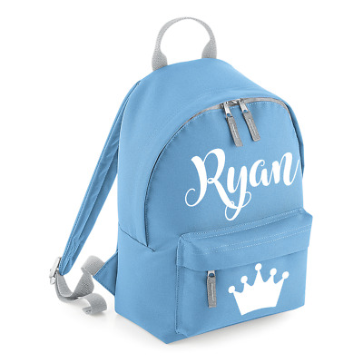 Personalised Mini Kids Crown Backpack Any Name School Nursery Toddler Bag MBPT