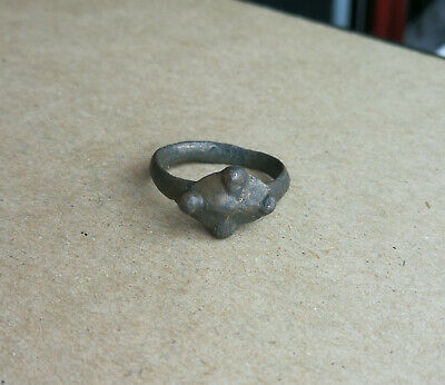 "Ancient Viking Old Bronze FABULOUS STATUS Ring Runic Ornament ""HORNED"" VERY RARE"