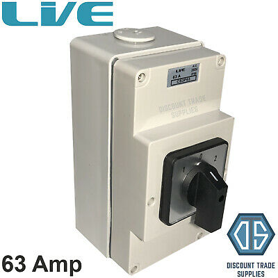 Live IP66 Enclosed Changeover Switch 63 Amp 3 Pole Surface Mounted