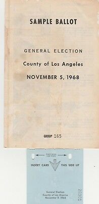 Sample Ballot General Election Los Angeles  Nov. 5, 1968 Humphrey Nixon Wallace