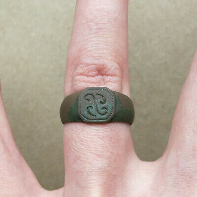 "Ancient Viking Bronze Ring Ornament "" Early Medieval SWASTIKA "" VERY RARE"