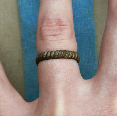 Ancient Viking Wedding Bronze Ring With Ornament 9th-11th century AD