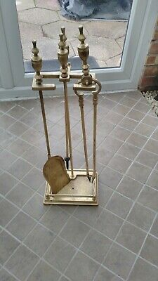 antique brass companion set three pieces 30 in height with integral ash tray LP
